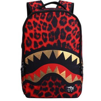 18 Inch Student School Bag Shark Leopard Printed Backpack Polyester Men Travel Bag Man Casual Notebook Bags Laptop Backpacks