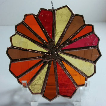 Suncatcher, Ornament, Stained Glass Suncatcher, Color Wheel, Christmas Decoration, Home Décor for Year Round, Contemporary Glass Art