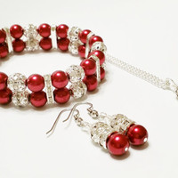 Necklace, Bracelet, and Earring Set / Dark Red Bridal Jewelry Set / Red Necklace / Red Wedding Jewelry / Red Pearl Jewelry Set / 3 Piece Set