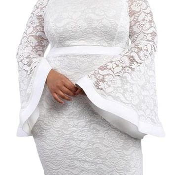 White Plus Size Long Bell Sleeve Bodycon Lace Dress