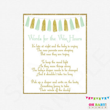 Words for Wee Hours, Mint Gold Baby Shower Games, Late Night Diapers, Diaper Message Game, Write on Booty Game, Printable Baby Shower, TASMG