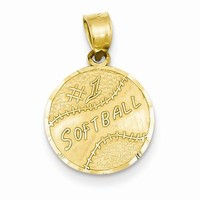 14k Gold #1 Softball Disc Pendant