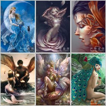 5D Square Diamond Painting Peacock Girl Diy Diamond Painting Cross Stitch Home Decor Diamond Embroidery Mermaid Mosaic Gift