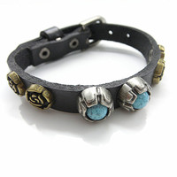 Fashion Punk  Adjustable Leather Wristband Cuff Bracelet  - Great for Men, Women, Teens, Boys, Girls 2755s