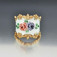 Vargas Sterling Silver Guilloche Enamel Cigar Band Ring