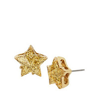 CONFETTI GOLD STAR GLITTER STUDS: Betsey Johnson
