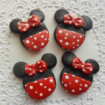 Minnie Mouse Clay Bow Centers, Scrapbook Brads, Magnets, Charms, Buttons, Chunky Pendant, Necklace Pendant - 4pcs