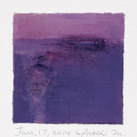 Jan. 17, 2014 - Original Abstract Oil Painting - 9x9 painting (9 x 9 cm - app. 4 x 4 inch) with 8 x 10 inch mat