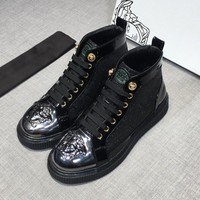 Versace Men High-Top Black Leather Sneakers - Best Deal Online