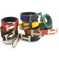 Hermes Men Fashion Smooth Buckle Belt Leather Belt