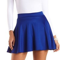 High-Waisted Skater Skirt by Charlotte Russe - Cobalt