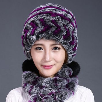 Winter Hat Women Pom Pom Three Ball Design Lady Genuine Rabbit Fur Hat Knitted Beanies Female Real Fur Winter Rex Fur Caps Hats