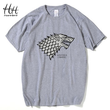Hanhent Game of Thrones Wolf T-shirt Stark Winterfell Cotton Tee shirt Winter is coming Casual Streetwear T shirt Fitness