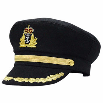 Black Sailor Captain Officer Stag Night Nautical Fancy Dress Hat