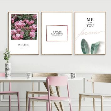 SURE LIFE Modern Nordic Rose Forever Love Letters Poster Canvas Paintings Printing Wall Art Pictures for Bedroom Home Decoration