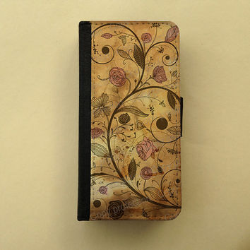 iPhone 4 5 flip case Samsung Galaxy S3 S4 leather wallet, flower iPhone wallet, book style, Samsung iPhone 5 - Antique floral pattern