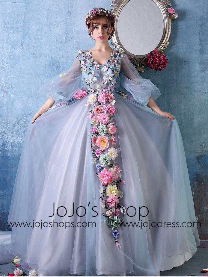 213f317cc74 Long Sleeves Ball Gown Evening Dress with Colored Flowers