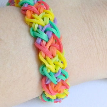 Rainbow Loom Bracelet, Rubber Band Bracelet,