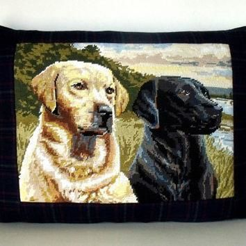 Luxury French Needlepoint Tapestry Labradors Dogs Ralph Lauren Plaid Wool Pillow Cush