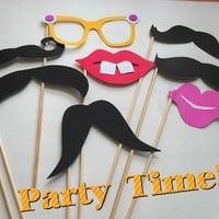 Fun Photo Booth Props-8 Piece Muctaches And Lips On A Stick Set