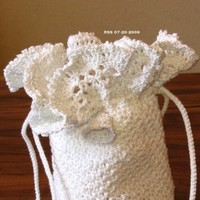 White and Silver Crocheted Lace Drawstring Bag - Crocheted Cord Handle | RSSDesignsInFiber - Bags & Purses on ArtFire