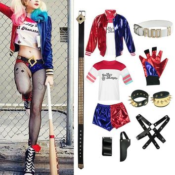 New Adult Cosplay Harley Quinn Ladies Costume Full Set Suicide Squad Cosplays Accessories Party Halloween Costumes