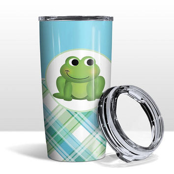 Frog Plaid Pattern Tumbler Cup - Green Blue Plaid Pattern with Happy Frog - 20oz Insulated with Clear Lid - Hot or Cold - Made to Order
