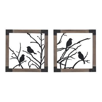 Ollerton-Set Of 2 Birds On A Branch In Natural Wood Tone Frame Rust,Silver