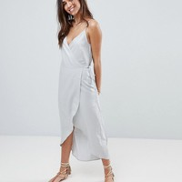 ASOS Linen Cami Wrap Slip Maxi Dress at asos.com