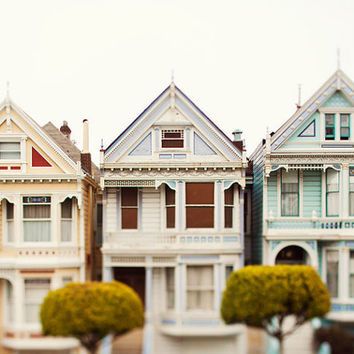 Pastel Houses San Francisco Art, Painted Ladies, Victorian Houses, Travel Photography, California, Home Decor - Three Victorians