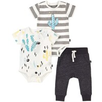 Baby Boys Set of Two Cactus Print/Striped Bodyvests & Asphalt Grey Shorts