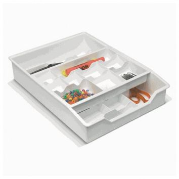 Everything Drawer Organizer - 2 Tier Sliding Tray - White