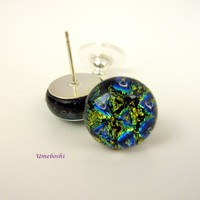 Blue Lightning Handmade Dichroic Fused Glass Post Stud Earrings Dichroic Glass Jewelry
