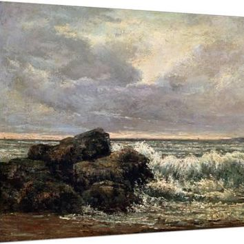 The Wave, C1870 Stretched Canvas Print by Gustave Courbet at Art.com