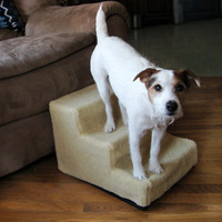 Evelots 3 Step Portable Fleece Covered Small/Medium Dog Pet Stairs, Doggy Steps