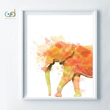 Elephant zen poster, feng shui elephant printable art, elephant watercolor warm color art, positive printable art decor, relax poster design