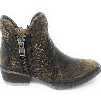 Circle G by Corral Women's Black & Yellow Cutout Shortie Boots Q5021