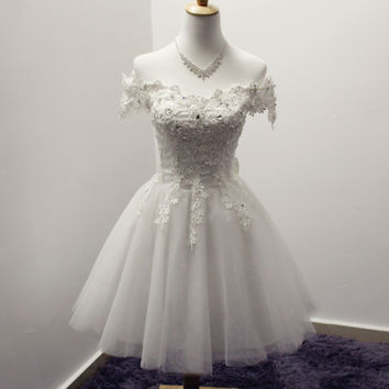 White Elegant Beading Homecoming Dress