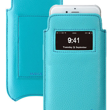 "Faux Leather ""Screen Cleaning"" iPhone 6/6s Plus Case Blue, Antimicrobial Int, Window, Credit Card Holder, Blue Stitching"