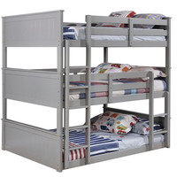 Therese collection triple full bed full over full over full gray finish wood bunk bed