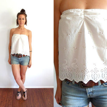 White Eyelet Scalloped Tube Top Upcycled Shirt
