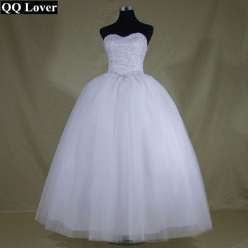 Sweetheart Lace Pearls Sequins Bridal Gown