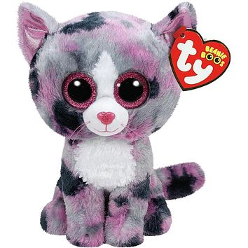 "Pyoopeo Ty Beanie Boos 6"" Regular Pink Lindi Cat Beanie Baby Plush Stuffed Doll Toy Collectible Soft Toys Big Eyes Plush Toys"