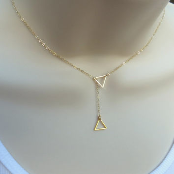Tiny Gold Triangle Lariat Necklace. Geometric Pendant Necklace.  Minimalist necklace. Gold Filled. Gift for Her.