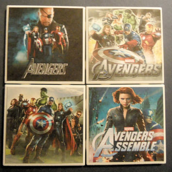 The Avengers Movie Poster Ceramic Coasters set of by myevilfriend