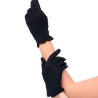 Black Wrist Length Ruffle Edge Gloves