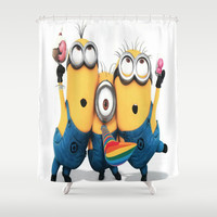 minions,graphic novel,happy,funny Shower Curtain by Kareffsa