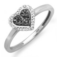 Amazon.com: 0.15 Carat (ctw) Sterling Silver Round Black and White Diamond Ladies Promise Heart Love Engagement Ring: Jewelry