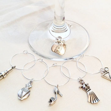 Girly Theme Wine Glass Charms Gift Charms Wine Charms Jewelry Set of 6 Charms