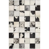 Madisons Black And White Cow Spot Square Pattern Patchwork Cowhide Rug